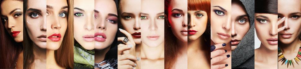Collage mit attraktiven jungen Frauen und schöner Haut
