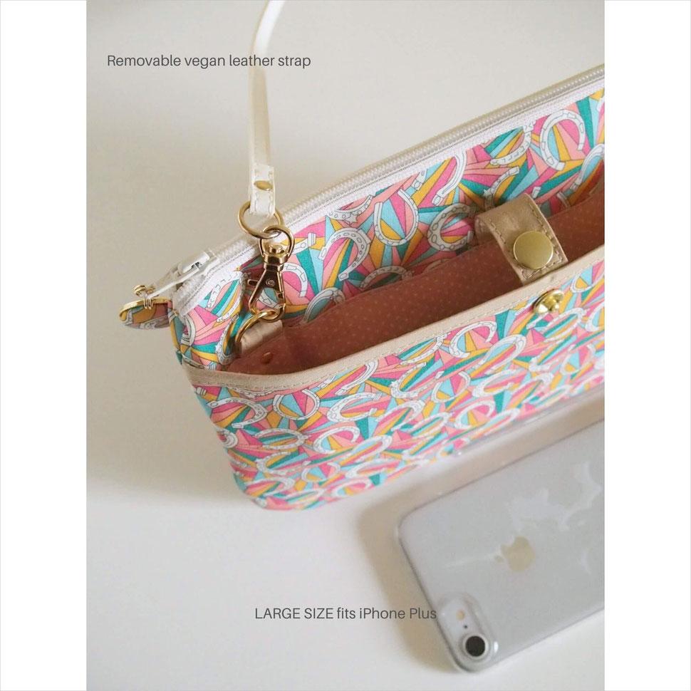 リバティプリント・ダービーデイで作ったお財布ショルダーの後ろポケット