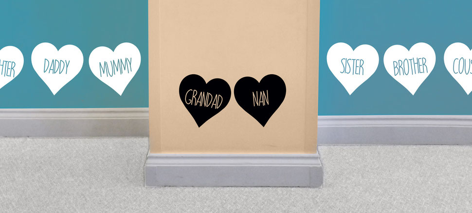 Grandad and Nan love heart family vinyl wall art decals. White love hearts are on the other walls with daughter, daddy, mummy, sister, brother and cousins. They come in many colours and a mix match of sizes and family names. From wallartcompany.co.uk