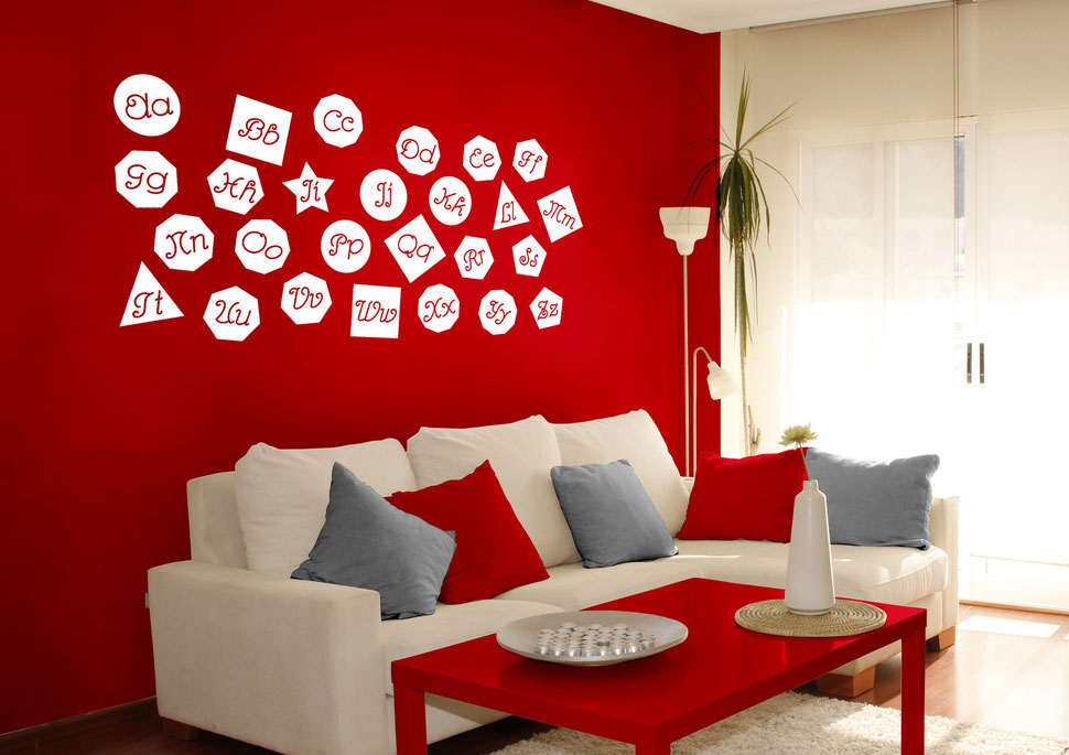 Kink Shaped Alphabet for kids bedrooms and play areas, helps to learn shapes and big and little letters. Many colours available from wallartcompany.co.uk