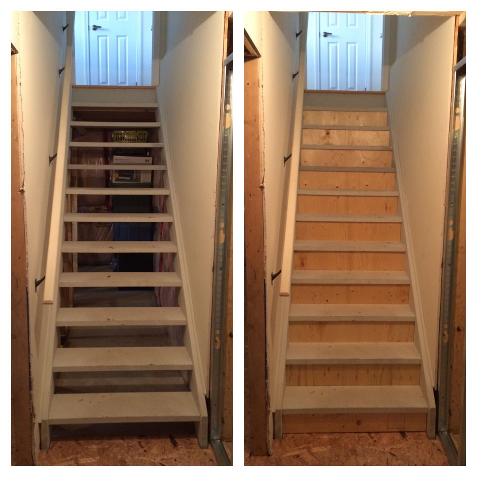 Risers added to staircase