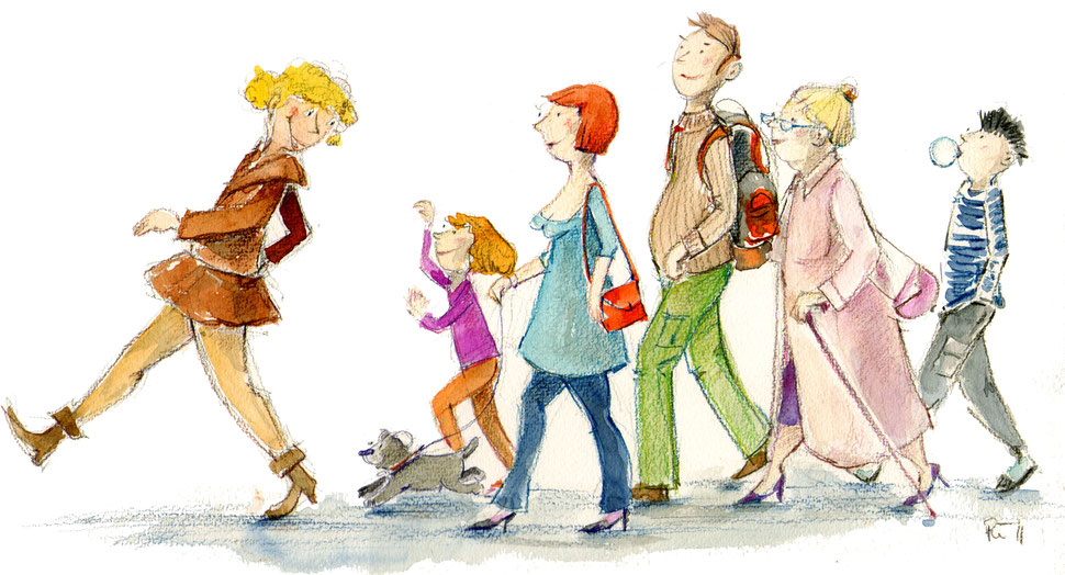 Eine fröhliche Guppe Menschen läuft im Gänsemarsch hintereinander. Unterschiedliche Charaktere und Altersgruppen. Buntstift/Aquarell.