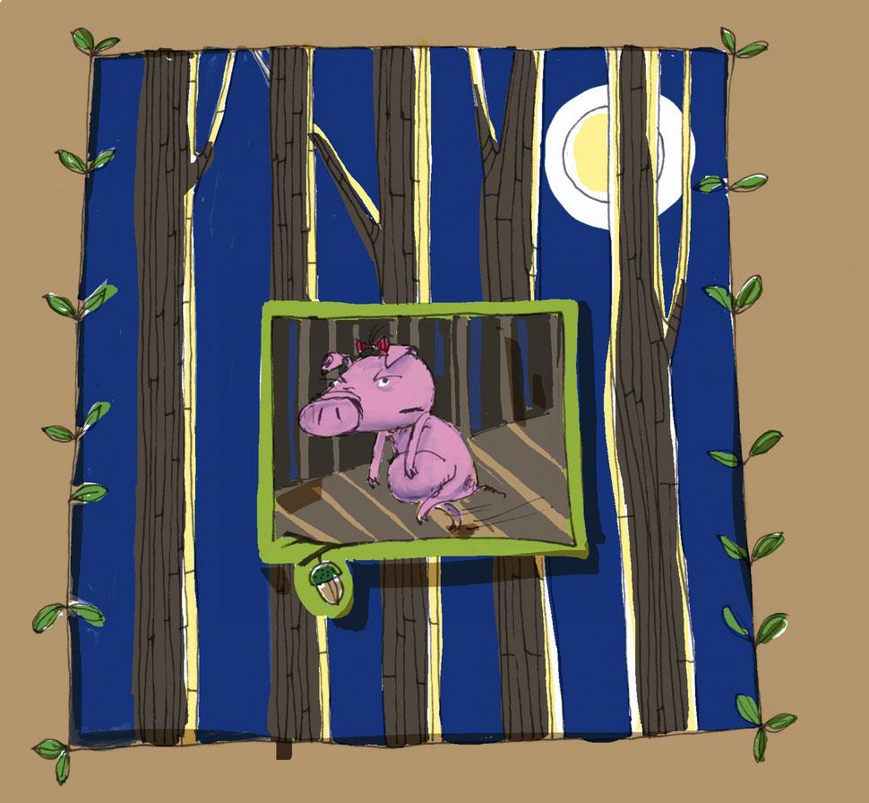 Missmutig stapft ein Schweinchen durch den finsteren Wald. Illustration. Kinderbuch.