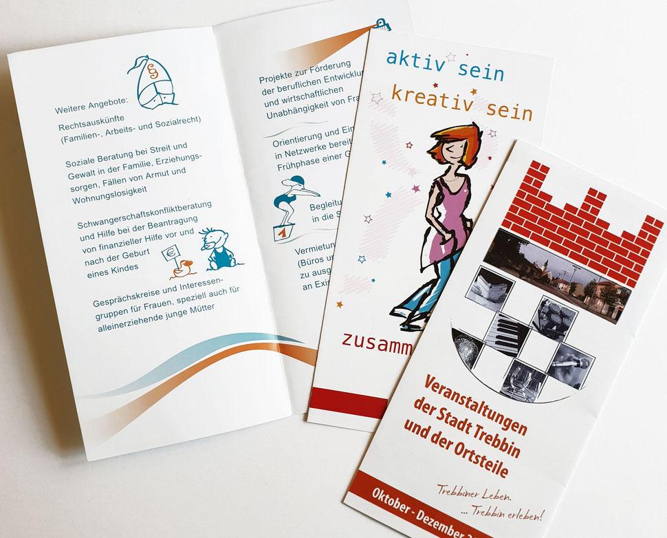 Faltblätter zu verschiedenen Themen. Kinder- und Jugendarbeit, Veranstaltungen, Image.