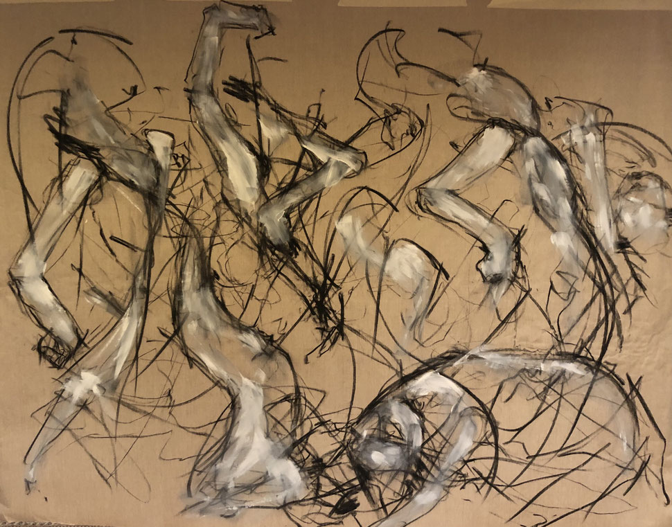 Intensité. Tension. Passion. (2m50x1m50), charcoal and acrylic on raw canvas