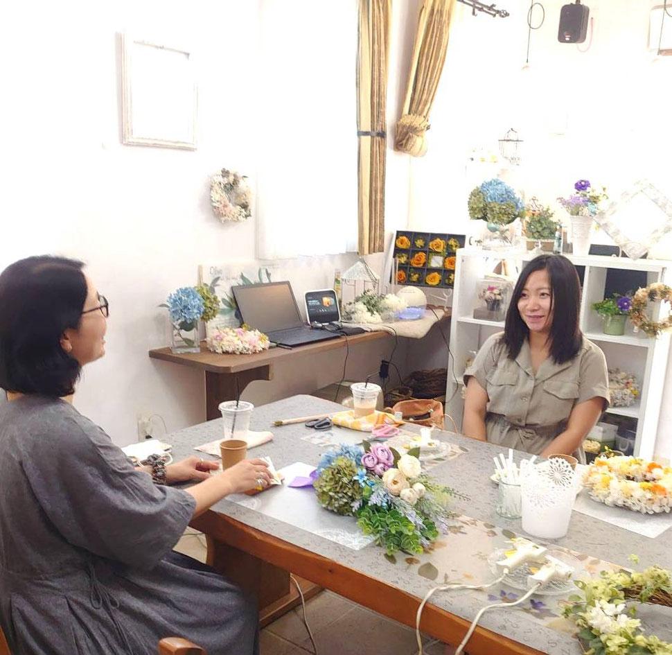 Lisの花工房,教室,レッスン風景
