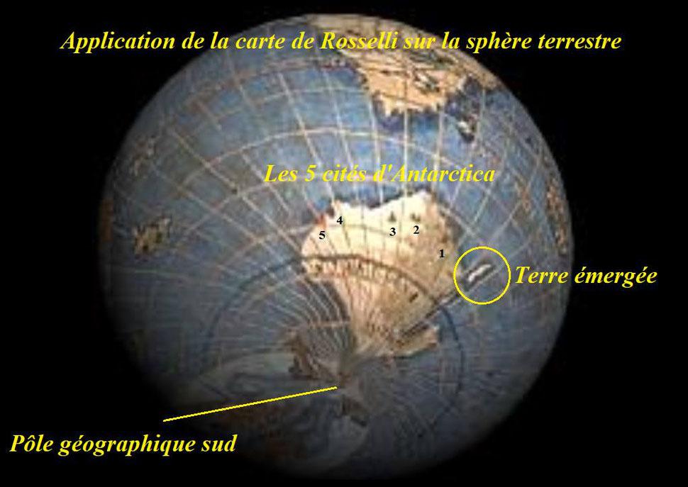 Projection sur le globe avec les 5 cités et une terre proche du continent Antarctique.