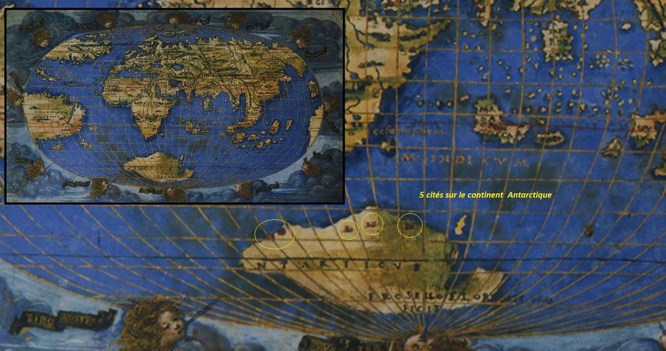 Carte de Rosselli avec un agrandissement des 5 cités d'Antarctica