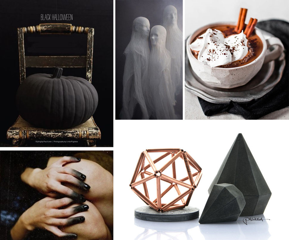 Halloween with concrete art, black accessories and of course ghosts