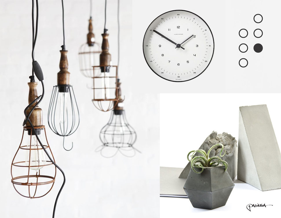 Home Decor Inspiration, industrial and concrete accessories || images via PASiNGA and Pinterest