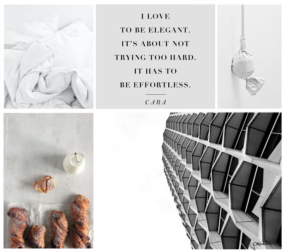 'Effortless Elegant' moodboard collection London with photographs by PASiNGA and via Pinterest