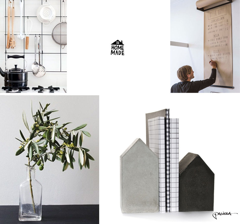 Home Made moodboard with creations and  images by PASiNGA and via Pinterest