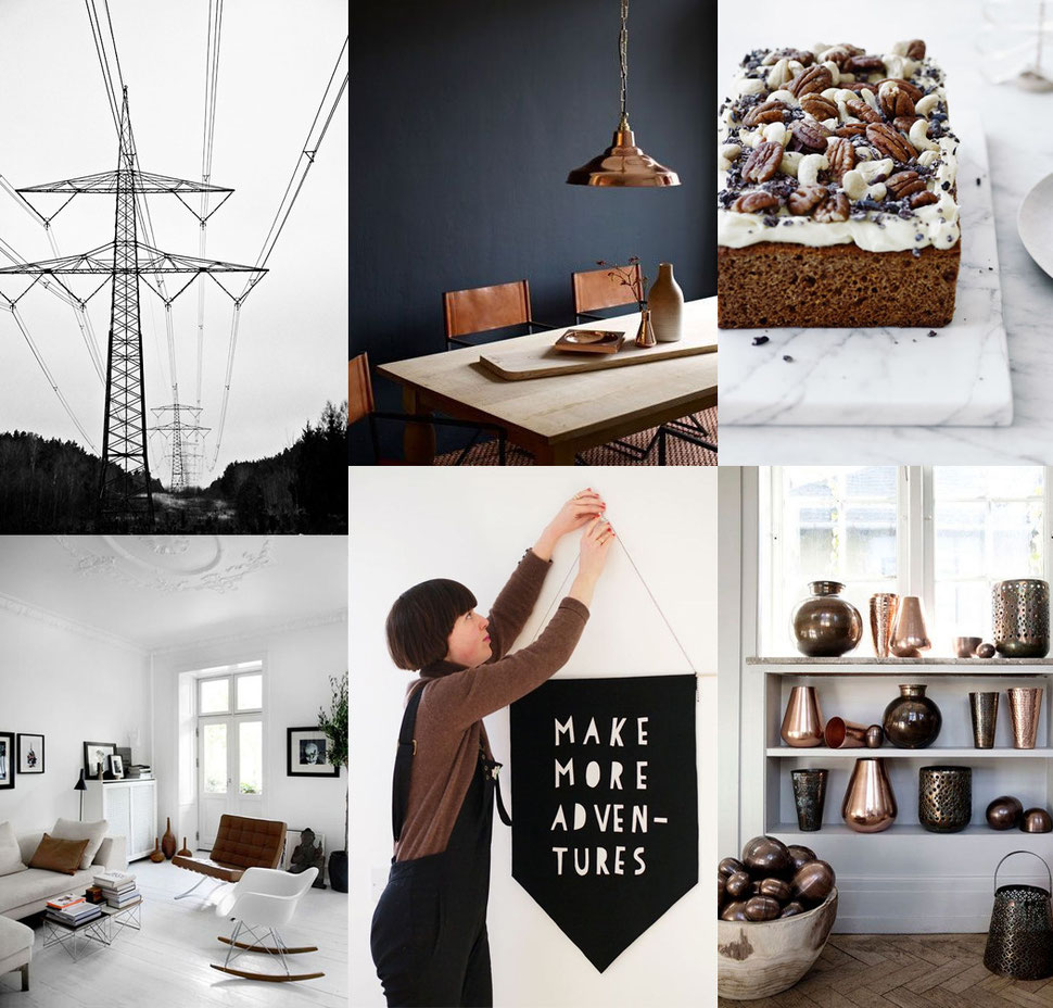 Make More Adventures, copper brown industrial home decor inspiration, images via PASiNGA and Pinterest