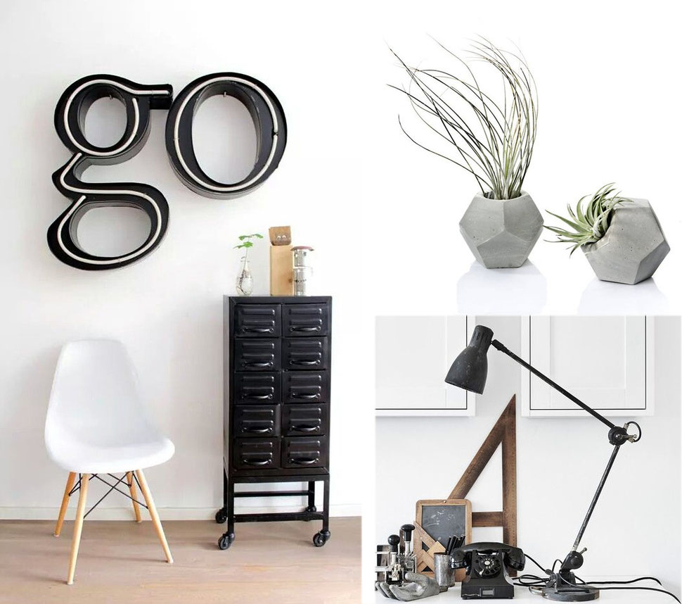 'Industrial Chic' office decoation and accessories with images via Pinterest and PASiNGA