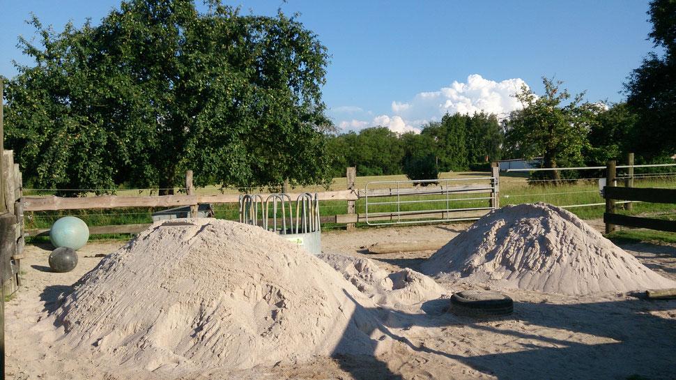 10 t Sand = 6 qbm - sieht irgendwie deutlich mehr aus...