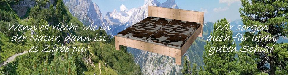 Bild: Das metallfreie Allgäuer Zirbenholzbett aus echter Alpenzirbe