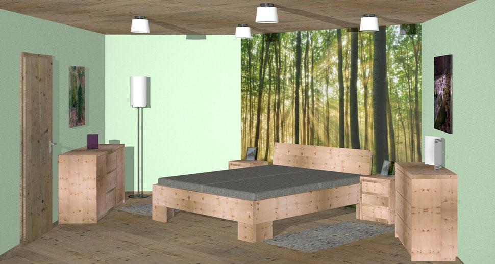 Bild: Zirbenholz-Schlafzimmer-moderm