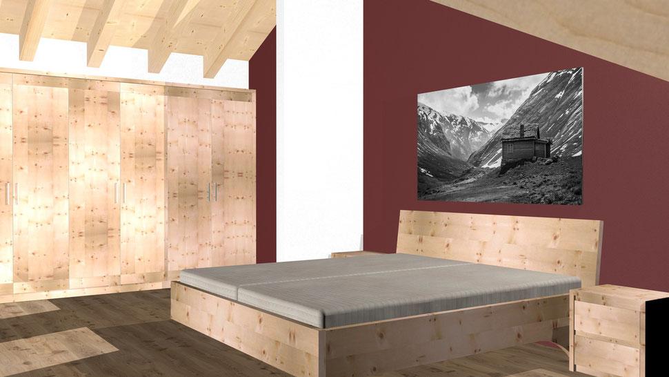 Bild: Zirbenholz-Schlafzimmer