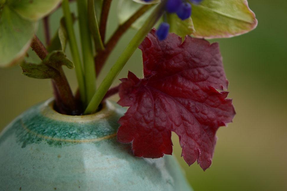 heuchera leaf and stoneware vase by Amy Myers