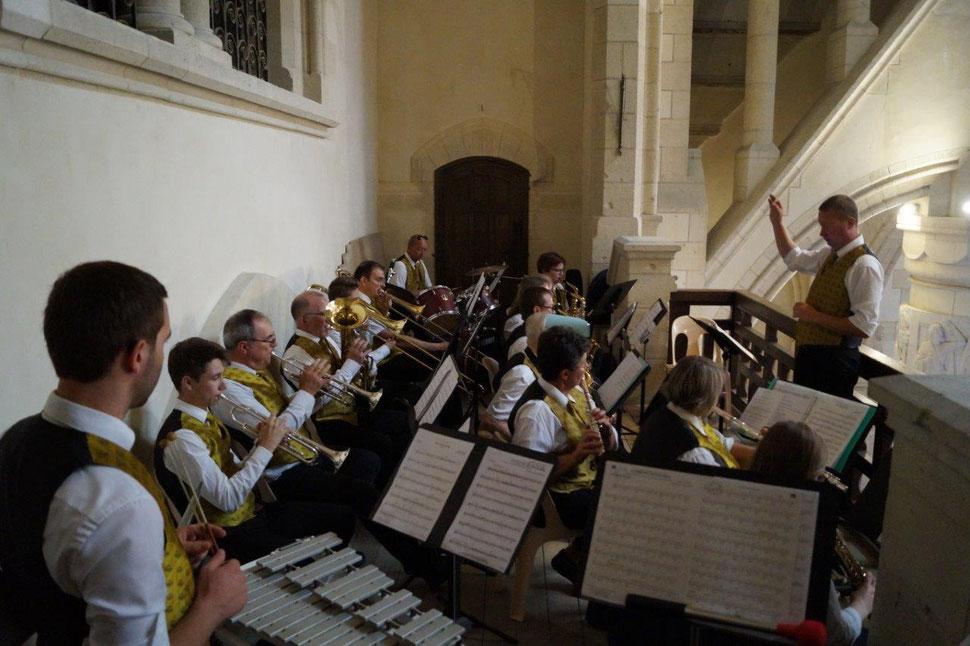 8 juillet 2018. Mémorial des batailles de la Marne. L'Harmonie municipale de Dormans assure la partie musicale lors de la messe du Centenaire.