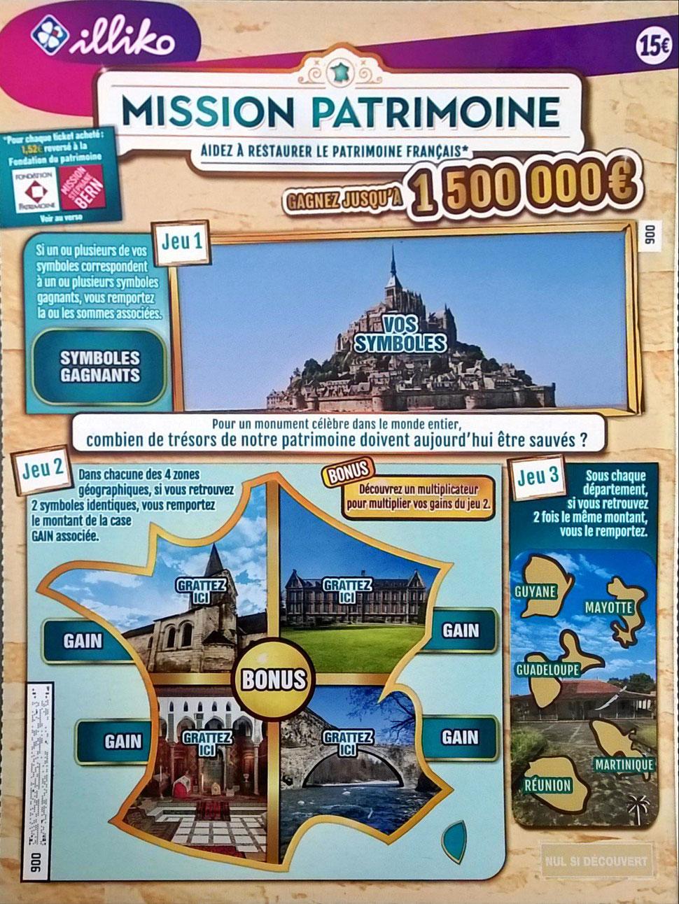Le ticket à gratter MISSION PATRIMOINE où s'est casé l'emblématique Hôtel-Dieu de Château-Thierry. Crédit photo : CARCT