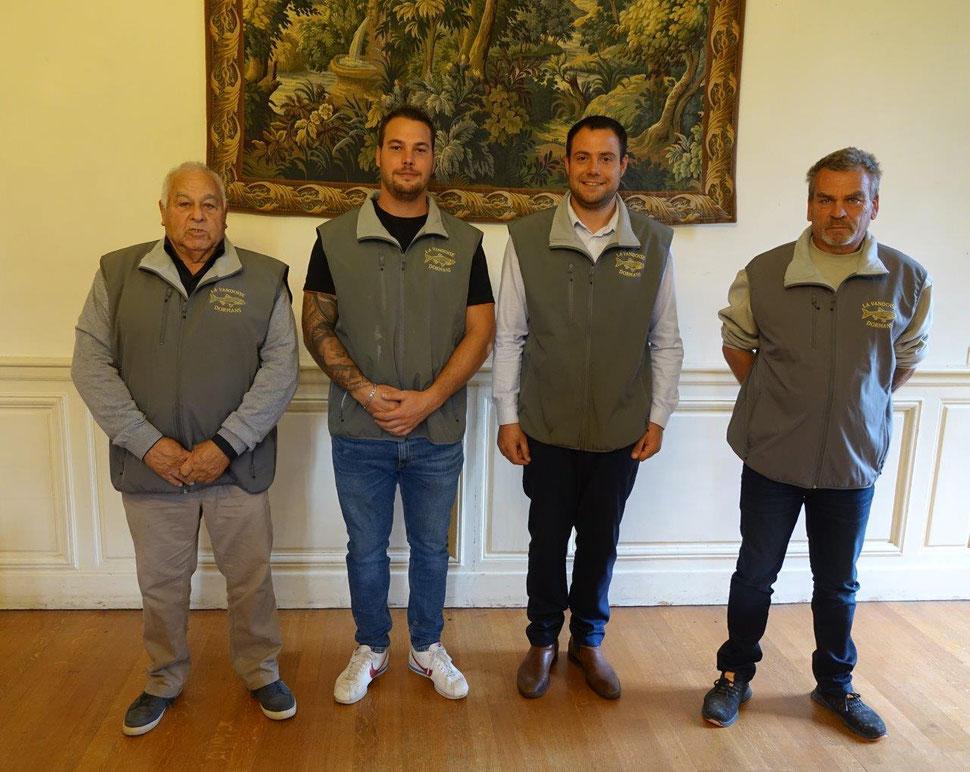 Le nouveau Bureau de l'AAPPMA La Vandoise. De gauche à droite : Pierre Laurier, Donovan Montcuit, Amaury Guy, Martial Laurier.