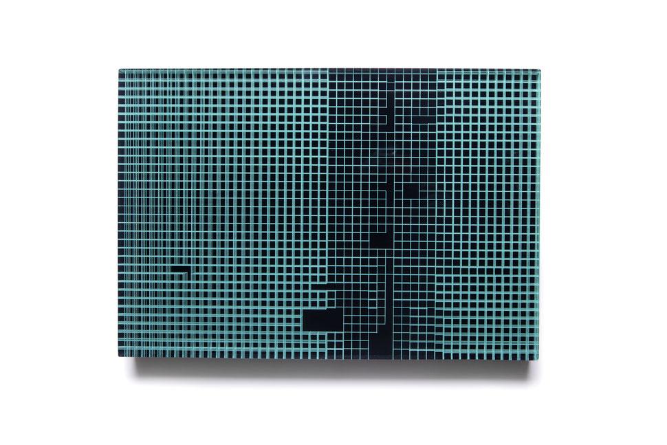 Panama    glued, polished glass and acrylic paint   34 x 50 x 6 cm   2019   ●
