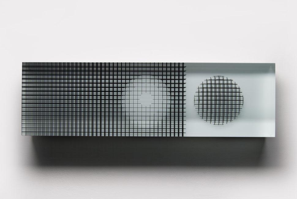 Magnet | glued, cut, hand drawn, polished glass | 60 x  18 x 8 cm | 2016 | ●