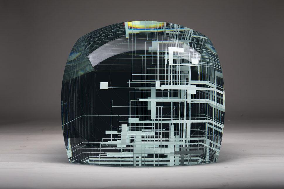 Refinery | glued, cut, hand drawn, engraved, polished glass | 38 x  38 x 30 cm | 2017 | ●