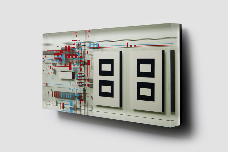 Control    glued, polished glass and acrylic paint   60 x 30 x 6 cm   2020