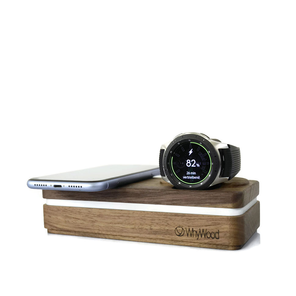 Galaxy Watch und Samsung Galaxy S7, S8, S9, S10 Dockingstation Ladestation Nussholz
