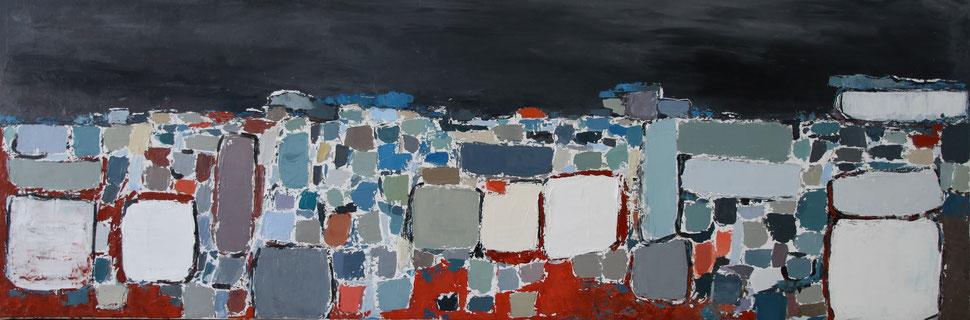 peinture abstraite dans le style de Stael. huile sur toile dans les tons de bleu