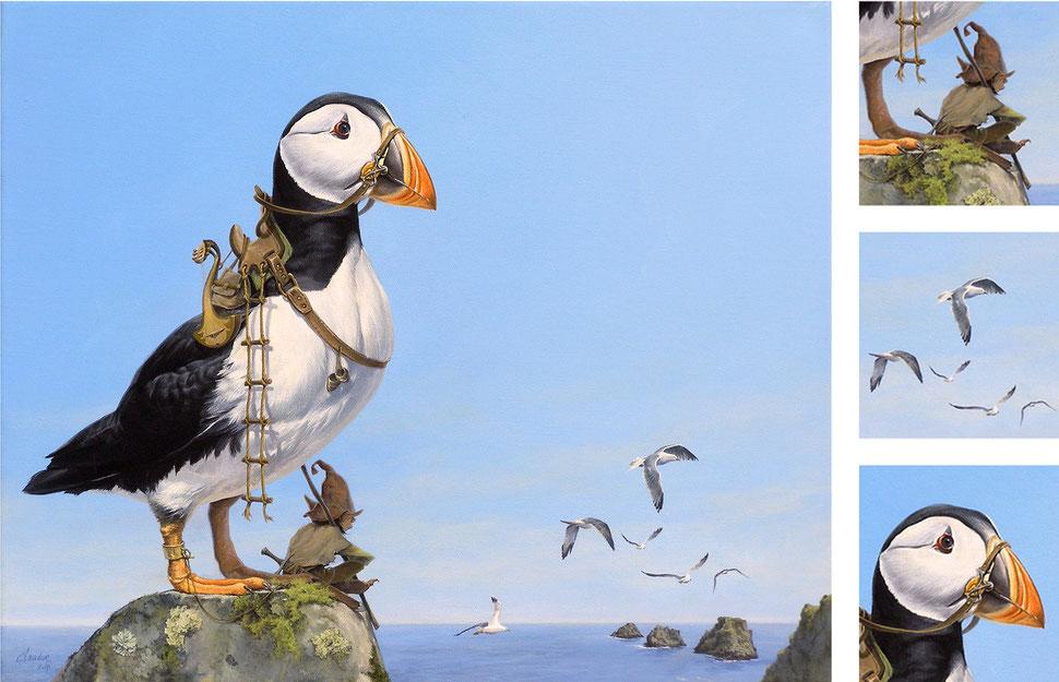 """Le gardien de la Pointe de PEN HIR (Macareux moine et korrigan scruptant """"les Tas de Pois"""") - Acrylique sur toile - 46 x 38 cm - 2014"""
