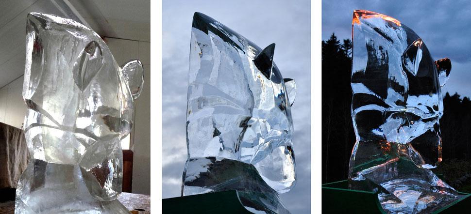 sculpture glace, sculpture ours, glace sculptée, sculpture animalière, ours sculpture