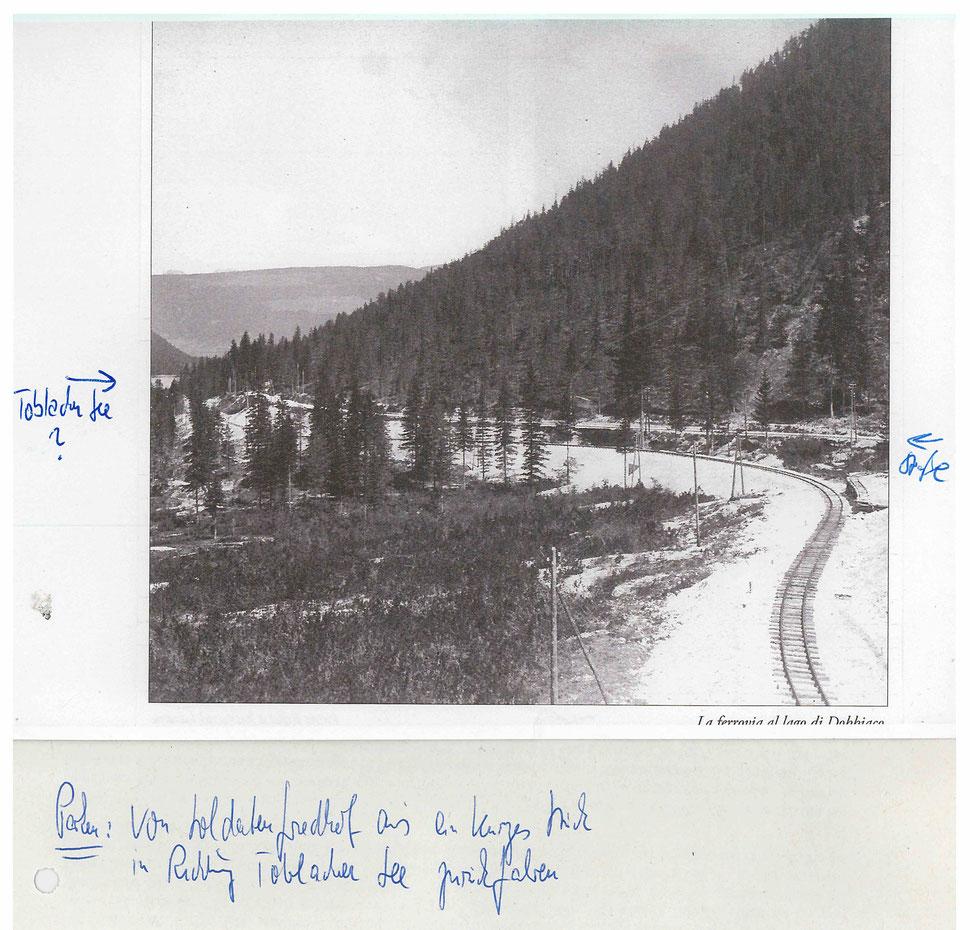 Linea ferroviaria lungo il lago di Dobbiaco - oggi la pista ciclabile Dobbiaco Cortina