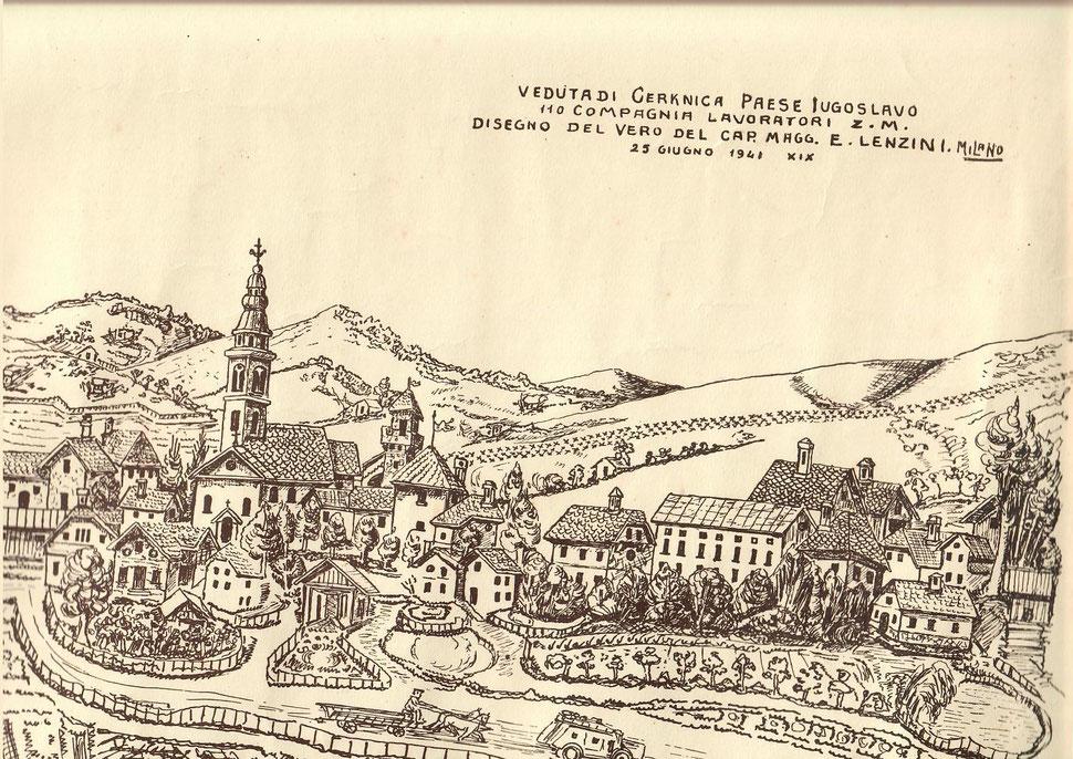 Cerkenica Slovenis Giugno 1941 - linea di difesa 2. guerra mondiale ( 110 compagnia lavoratori - caporale maggiore E. Lenzini Milano )