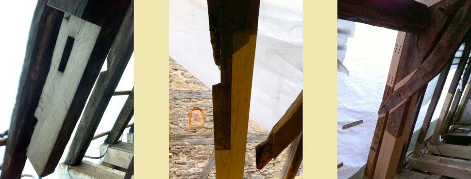 Bundstreben, repariert mit Sparren und Passstücken, damit die vorhandenen Büge und Streben wieder funktionieren. Kraftschlüssige Verbindung. Jetzt noch sichtbare Bohrungen werden später mit Eichenholzdübeln verdeckt.