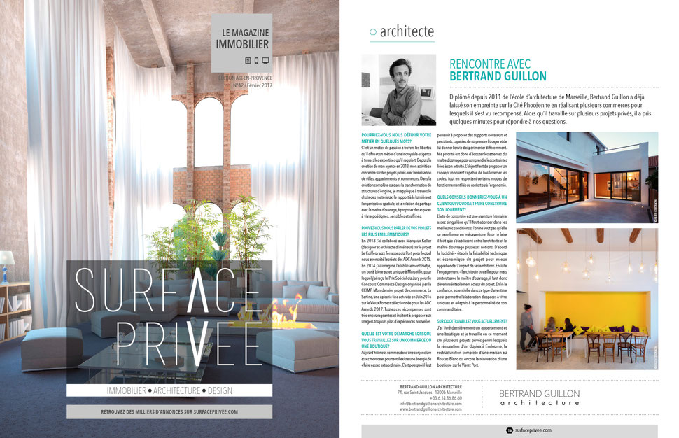 bertrand guillon architecture - architecte - marseille - construction - rénovation - extension - aménagement - interiordesign - architecture - interview - surface privée - immobilier - magazine