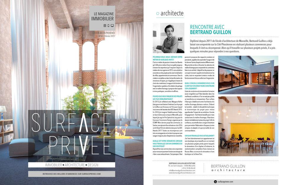 bertrand guillon architecture - architecte - marseille - construction - rénovation - extension - aménagement - interiordesign - architecture - interview - surface privée - immobilier - magazine