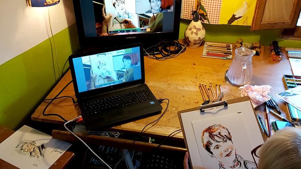 Schnellzeichner & Karikaturen in Stuttgart auch als Karikaturistin und Eventzeichnerin buchbar und immer ein Erlebnis. Portraits malen mit Karin ist immer ein Genuß. Eine Karikatur Hochzeit als Showact in Stuttgart für hohe Ansprüche bei Hochzeiten.