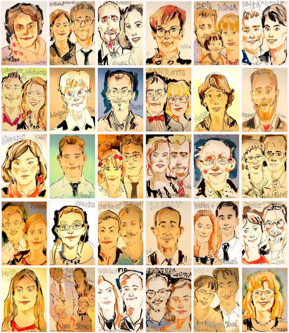 Ein Schnellzeichner Frankfurt und Karikaturist zeichnet Portaits und Karikaturen meistens schwarz weiß aber auch teilweise mit Farbe. Die Größe eines Bildes sind unterschiedlich und beginnen ab A5 über A4 bis hin zu A3 oder A1 Formate. Einfach anfragen!