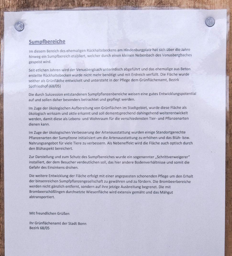 Schreiben des Grünflächenamtes der Stadt Bonn, Bezirk 68/05