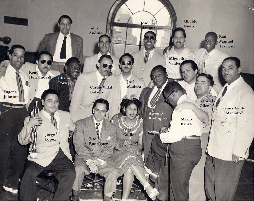 Estampa de los músicos que acompañaron a Arsenio en sus grabaciones para el sello Coda  - 1947.