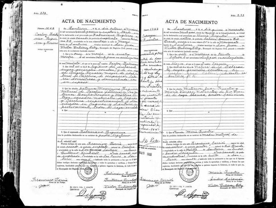 Acta de nacimiento de Charlie Figueroa - Para leer dar click sobre la imagen para ampliarla.