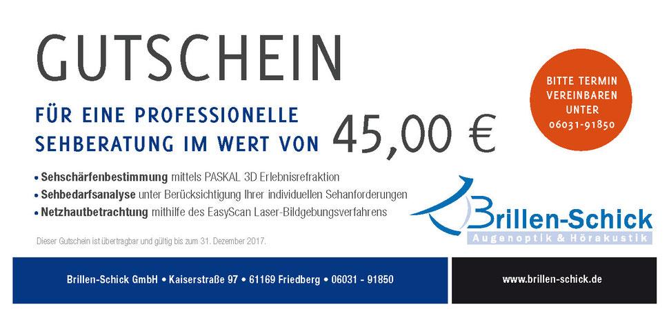 augenoptik gutschein f r eine professionelle sehberatung im wert von 45 euro brillen schick. Black Bedroom Furniture Sets. Home Design Ideas