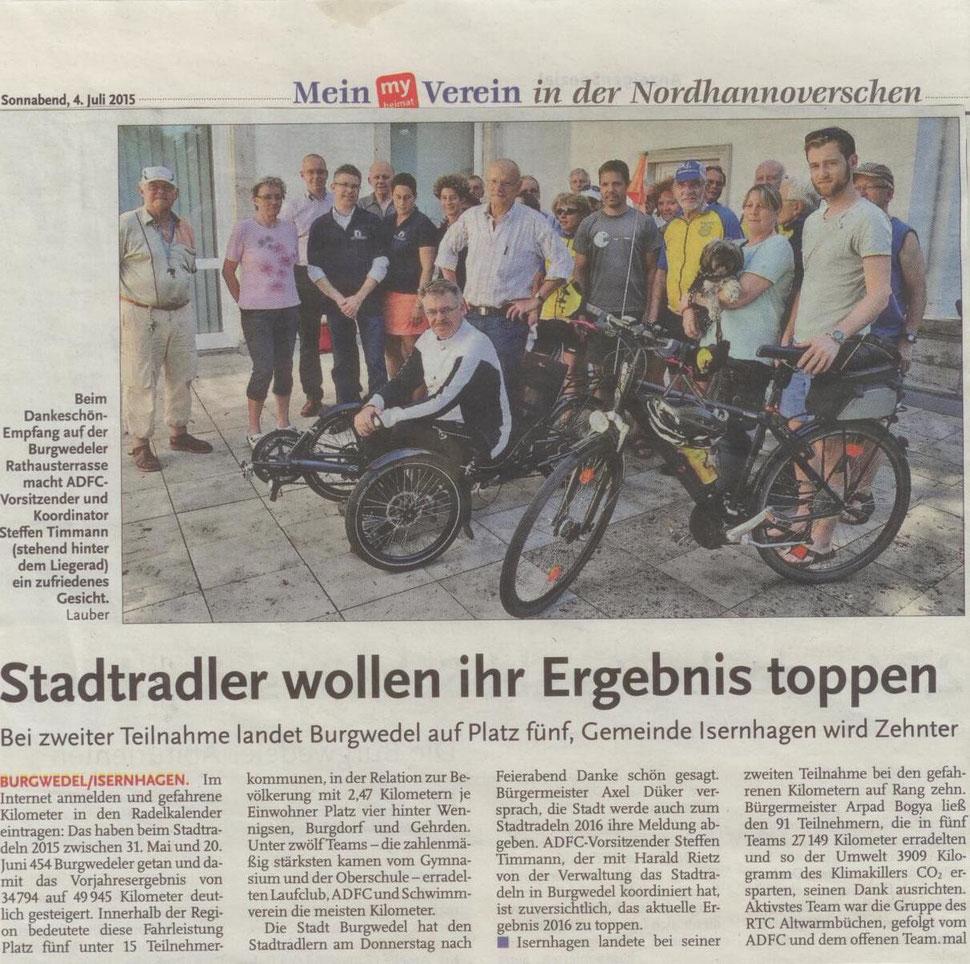 Platz 3 für die Radler des SV Burgwedel beim Stadtradeln 2015