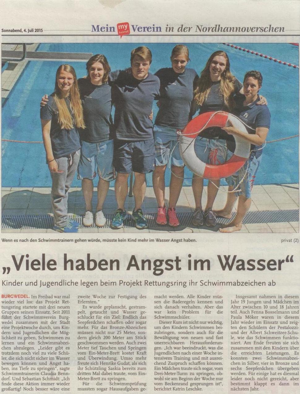 Rettungsschwimmer des SV Burgwedel, HAZ vom 4.7.2015