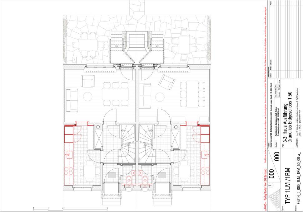 Familienheim Genossenschaft Zürich, Hopf & Wirth Architekten, Etappe 14, Bernhard-Jäggiweg, Typ 1: 3-Zimmer Haus, Grundriss Erdgeschoss