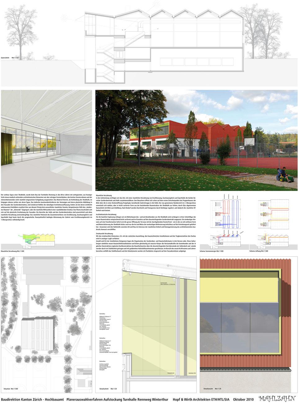 Hopf & Wirth Architekten ETH HTL SIA Winterthur, Wettbewerb Berufsbildungsschule Winterthur, Erweiterung Turnhallen Rennweg