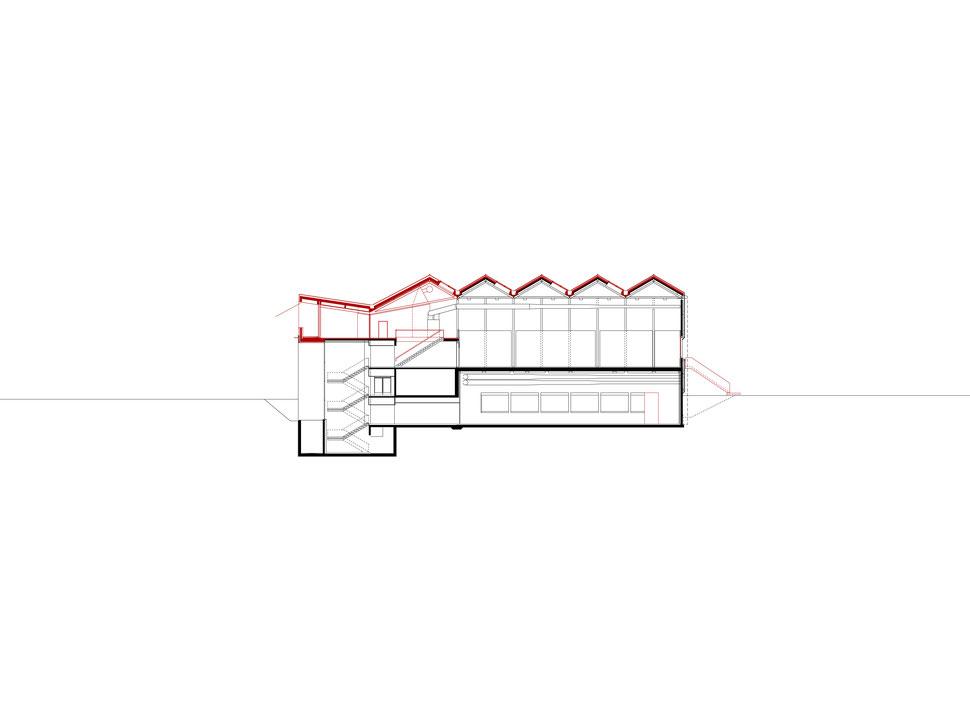 Hopf & Wirth Architekten ETH HTL SIA Winterthur, Erweiterung Turnhallen Berufsbildungsschule Winterthur BBW, Schnitt